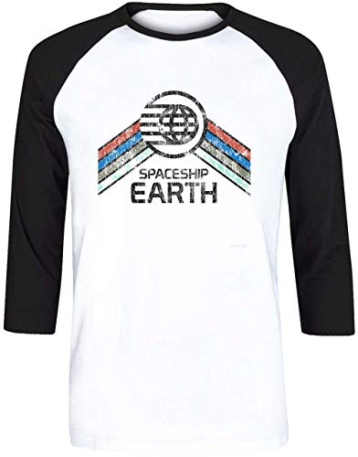 Vintage Spaceship Earth Unisex Herren Damen Weiß Baseball T-Shirt 3/4 Ärmel | Unisex Men's Women's Baseball T-Shirt -