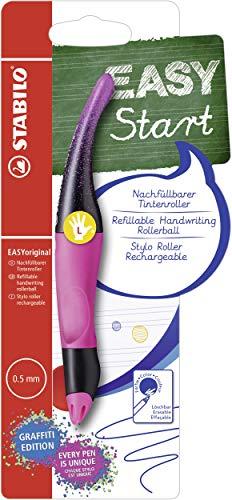 Ergonomischer Tintenroller für Linkshänder - STABILO EASYoriginal Graffiti Edition in magenta - Schreibfarbe blau (löschbar) - inklusive Patrone