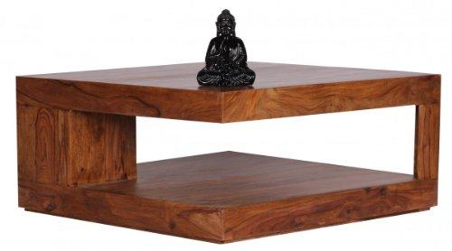 Home Collection24 Table Basse Mumbai Bois de Sheesham Massif Largeur 90 cm Design Table de Salon/Marron foncé Style Maison de Campagne Table d'appoint