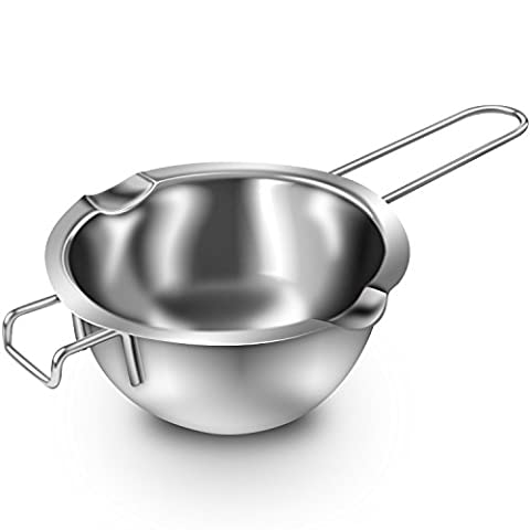 IBEET Super Doppel Kessel Töpfe Universal Insert Pan, 18/8 Edelstahl, 2 Tassen Kapazität, 2 Gießen Ausgüsse, Schokolade Schmelzen Töpfe