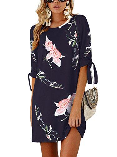 YOINS Sommerkleid Damen Tshirt Kleid Rundhals Kurzarm Minikleid Kleider Langes Shirt Lose Tunika mit Bowknot Ärmeln blau-02 EU40-42(Kleiner als Reguläre Größe) - Den Sommer Kleid Für Lang