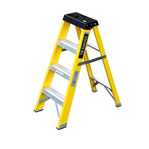 Laddres-Online - Escalera de mano para electricistas (fibra de vidrio, peldaños no conductores, EN131, incluye meseta para las herramientas)