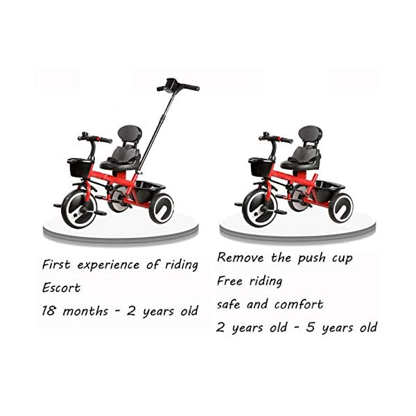 BGHKFF 2 In 1 Childrens Tricycles 1.5 To 5 Years 360° Swivelling Saddle Kids Tricycle Anti-slip Pedals 2-Point Safety Belt Child Trike Maximum Weight 25 Kg,Orange BGHKFF ★Material: Steel frame, suitable for children aged 1.5-5, maximum weight 25 kg ★ 2 in 1 multi-function: can be converted into baby strollers and tricycles. Remove the hand putter as a tricycle. ★Safety design: golden triangle structure, safe and stable; front wheel clutch, will not hit the baby's foot; 2 point seat belt; rear wheel double brake 2