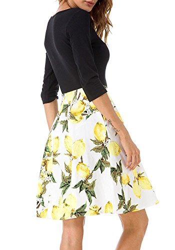 ELFIN® Damen Kleid Herbst 3/4 Arm Rundhals Blumenkleider Cocktail Partykleid Casual Basic A-Linie Kleider Jerseykleid Stretch Knielang Gelb-YWH