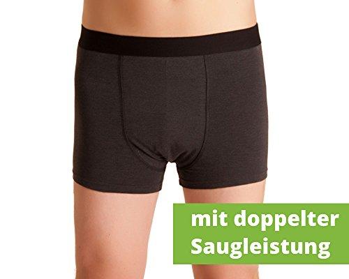Herren Inkontinenz-Shorts, waschbare Inkontinenz-Unterhose Männer, dunkelgrau/melange, mit doppelter Saugeinlage, für Tagesinkontinenz geeignet, ActivePro Men Super, Gr. XXL