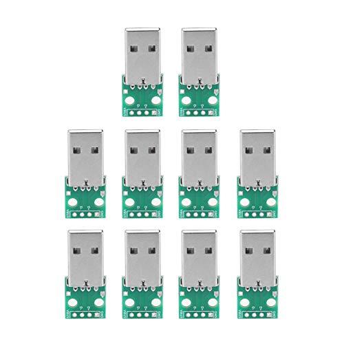 10 Stücke USB Typ A zu DIP Adapter Board USB Breakout Board Männlich 4 P USB DIP Adapter 2,54mm Pitch Header Adapter Stecker 10 Stück Usb