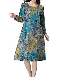 Needra Women Short Sleeve O Neck Pocket Cotton Linen Printed Loose Dress