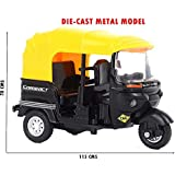US1984 Imported CNG Auto Rickshaw Die-Cast Metal Toy Car With Pull Back Model And Turnable Handle Toy For Kids, Great Gift For Boys And Girls Above 4 Years Old Best Gift ( Multi Color )