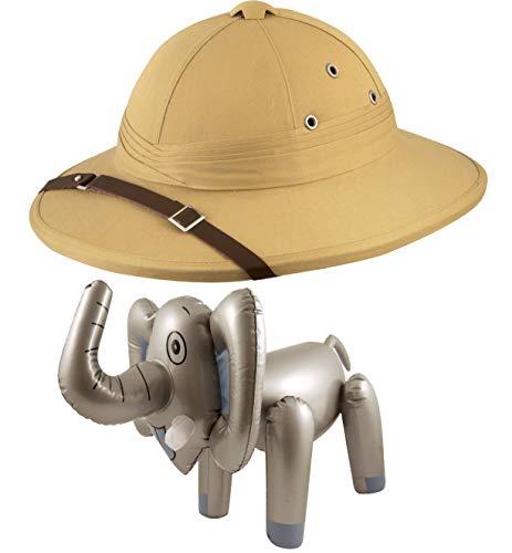 Labreeze Deluxe Safari Pith Hut Jäger Helm aufblasbar Elefant Dschungel Kostüm