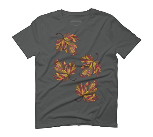Autumn Leaves Men's Graphic T-Shirt - Design By Humans Anthracite