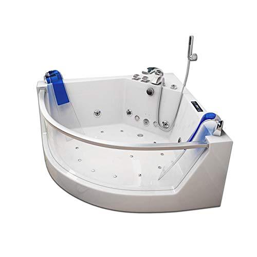 Supply24 Whirlpool Badewanne Atlanta mit 17 Massage Düsen + 2X LED Beleuchtung + Heizung + Ozon für Eckmontage rechts + Links mit Glas Hot Tub Spa für 2 Personen