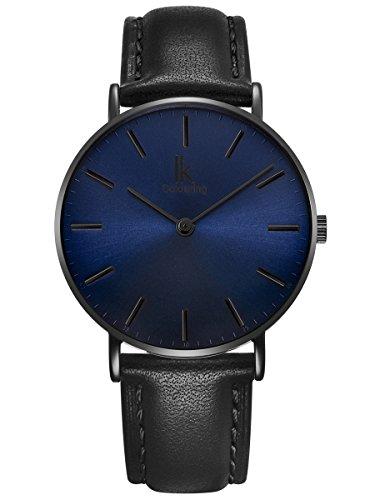Alienwork Montre Homme Femme Mixte Bracelet Cuir Noir Analogique Quartz Unisex Bleu Imperméable Ultra-Mince Classique