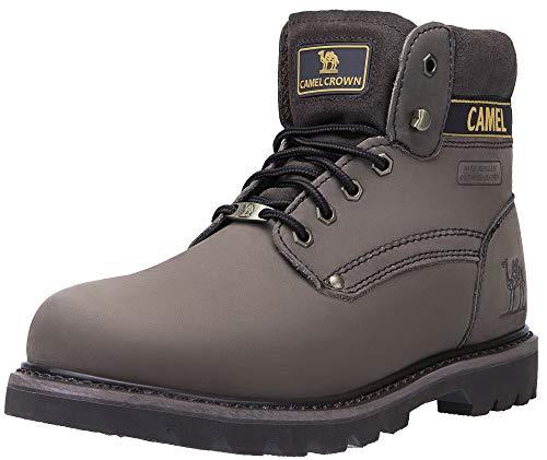 CAMEL CROWN Herren Damen Stiefel Arbeitsschuhe Kurzschaft Leder Schuhe Klassische Schnürschuhe Stiefel für Winter Herbst