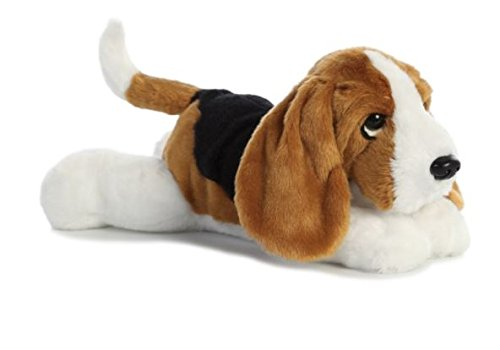 Aurora, Flopsies, Bassett Hound, Soft, 31567 12inches, Cuddly Toy, Multi-Colour