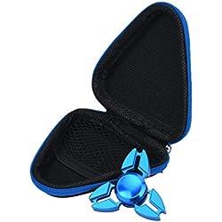 Transer® Regalo para Fidget mano spinner triángulo dedo foco de juguete ADHD autismo bolsa caja carry case paquete (Azul)