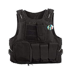 Pellor Militaire Gilet Tactique Amphibie Molle Veste de Protection pour Combat Réel Police Armé CS RAS Airsoft Paintball