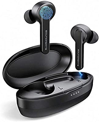 SoundPEATS Touch Control Wireless Earbuds, Truly Wireless Stereo Sound Earphones IPX7 Waterproof 24H Playtime Built in Mic Headset Bluetooth 5.0 True Wireless Headphones with Charging Case
