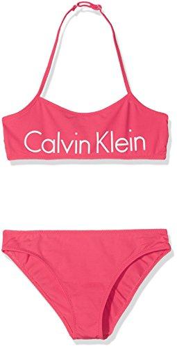 Calvin Klein Mädchen Bikini Core Placed Logo Bandeau Set, Rosa (Azalea 501), 104 (Herstellergröße:4-5) (Azalea Kleines Kind)