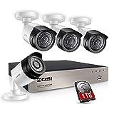ZOSI 1080P 4CH CCTV Sistema de Seguridad DVR Grabador con 4 * 1080P Cámaras de Vigilancia, 1TB Disco Duro, Detección de Movimiento, Monitoreo Remoto en Móvil