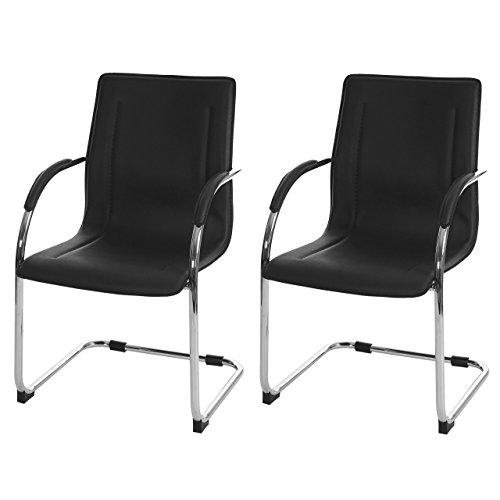 Mendler 2x Konferenzstuhl Samara, Besucherstuhl Freischwinger, PVC ~ schwarz - 2