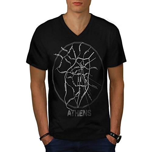 greece-city-athens-big-old-town-men-new-black-s-v-neck-t-shirt-wellcoda