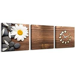 Reloj de pared cuadrado Piedras de madera de la margarita Blanca Flor Composición calmante pacífica