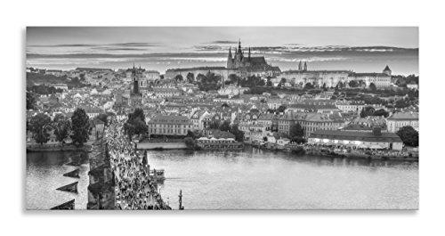 Prager Burg Art Skyline schwarz und weiß Leinwand Kunstdruck Panorama für Wohnzimmer Badezimmer Schlafzimmer Küche Home Decor Bild Single Panel gerahmt, schwarz / weiß, 40