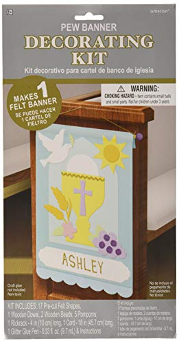 Amscan 394989 Banner, 35,6 x 22,9 cm, mehrfarbig (Favors Communion First Party)