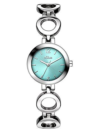 s.Oliver SO-3016-MQ - Orologio da polso da donna, cinturino in lega colore argento