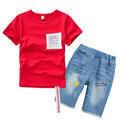 Kinder T-Shirt 2 Stück Summer Boy Brief Drucken Kurzarm + Jeans Red-170