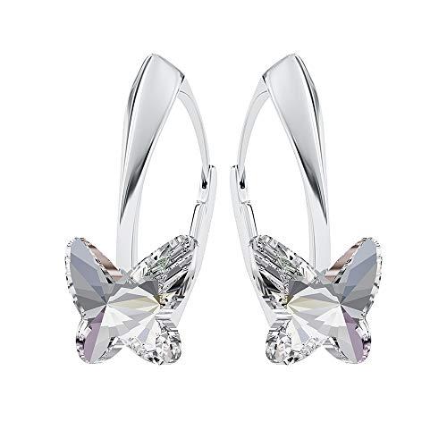Beforya paris, orecchini in argento 925 * farfalle * - molti colori - orecchini con cristalli di swarovski elements bellissimi orecchini da donna in argento - gioielli con confezione regalo pin/75