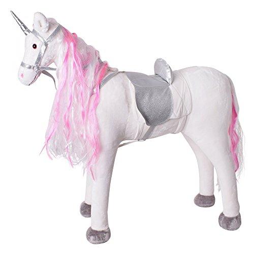 TE-Trend stehendes Reittier Einhorn Unicorn mit Sattel Zaumzeug lange bunte Mähne Schweif