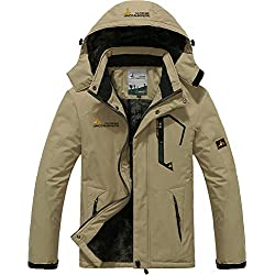 TACVASEN Casual Jackets for Men Sports Winter Jacket Fleece Outdoor Skiing Snowboard Jacket Khaki