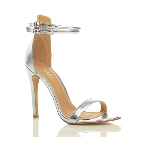Sandali da Donna Tacco Alto a Stiletto Doppio Cinturnino Argento metallizzato