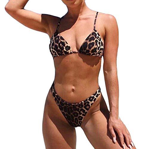 AMUSTER Damen Sexy Bikini Set Bademode Badeanzüge Bikinis für Frauen Mädchen Bandeau Push Up mit Bügel Leopard - Badeanzug Größe Charts