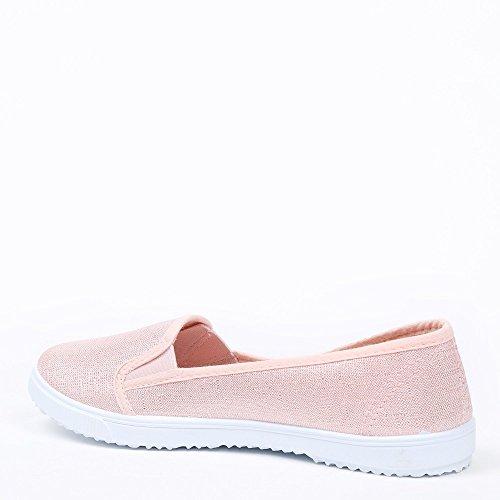 Ideal Shoes - Baskets slip-on effet pailleté Dariane Rose
