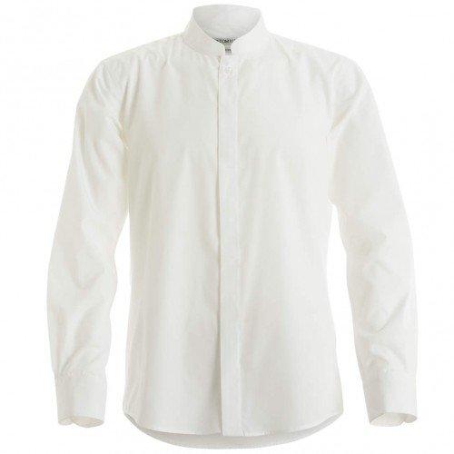 Kustom Kit - Camisa entallada de manga larga con cuello chino / mao Hombre Caballero - Trabajo/Fiesta/Verano (2XL/Blanco)