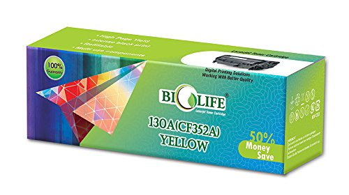Biolife 130A / CF352A Yellow Compatible Toner Cartridge for HP Printer All in One Printers Color LaserJet Pro M176 MFP, M177fw MFP  available at amazon for Rs.899