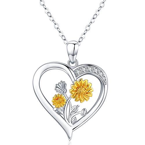 Collana con ciondolo a forma di girasole, in argento Sterling 925, da donna, regalo di Natale per la migliore am