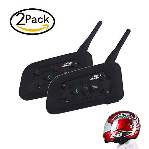 V6 1200M Motorrad Gegensprechanlage Bluetooth Sprechanlage Wasserdicht Gegensprechanlage Helm Headset Sie bis zu 6 Reiter für Outdoor-Radfahren, Skifahren, Bergsteigen (2 Packs) (Atv Helm Mit Bluetooth)