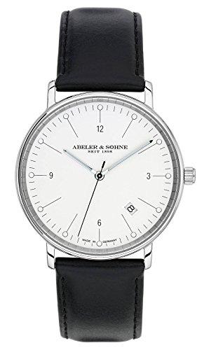 Abeler & Söhne–Made in Germany–Orologio da uomo con cinturino in pelle, Vetro Zaffiro e Data as1141