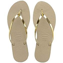 Havaianas You Metallic, Sandales Bout ouvert Femme, Or (Sand Gris/Light Golden 2719), 41/42 EU