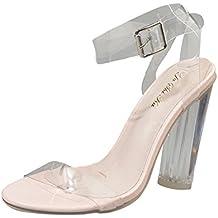 Sandalias mujer, ❤ Manadlian Sandalias de mujer Cerrojo transparente Talón grueso Moda Zapatos de