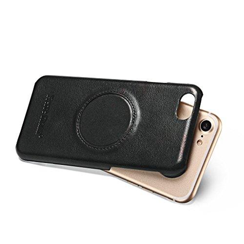 Ultra Dünn Echtem Leder Hülle für iPhone 7,Careynoce Luxus Handgefertigt Schutzhülle für Apple iPhone 7(4.7 Zoll) mit Karten Schlitz -- Schwarz M03