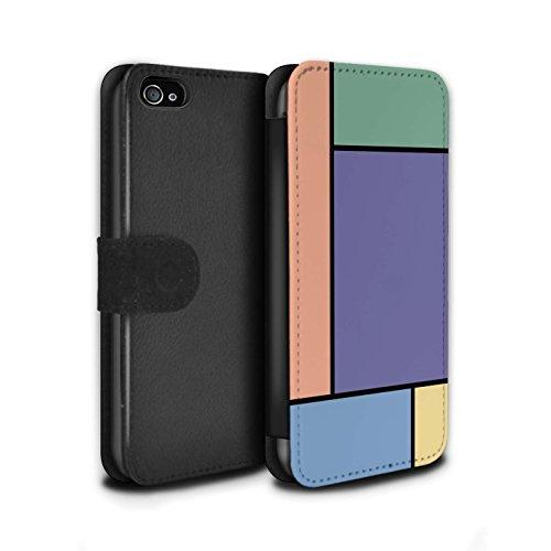 Stuff4 Coque/Etui/Housse Cuir PU Case/Cover pour Apple iPhone 4/4S / 5 Carreaux/Turquoise Design / Carreaux Pastel Collection 5 Carreaux/Purple