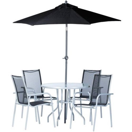 Tisch Sonnenschirm Set (Garten-Set Sitzgruppe 6-Teilig Stühle Tisch und Sonnenschirm, für Terrasse Balkon & Garten)