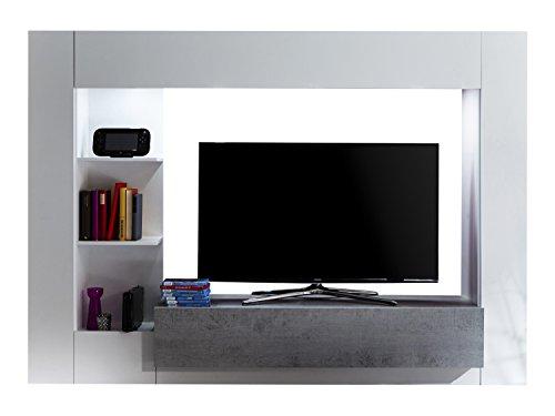 trendteam HY00135 Wohnwand TV Möbel Weiß, Absetzungen Beton Industry Nachbildung, Stellmaß BxHxT 209 x 156 x 42 cm - 2