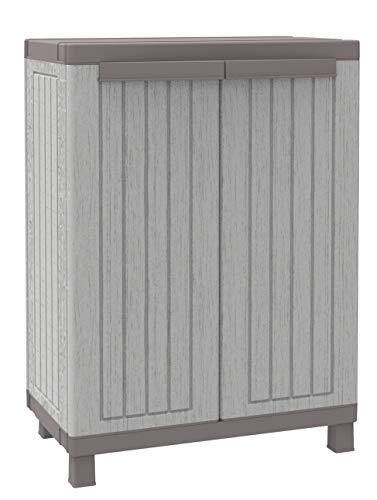 Terry Schrank, niedrig, aus Kunststoff, mit Einlegeboden, grau/taupé - Mit Schrank Kunststoff-abdeckung