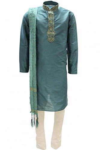 Krishna Sarees MKP9008 Grün und Gold Men's Kurta Pyjama Indian Suit Bollywood Sherwani (Chest 50 inches) (Brocade Kurta)