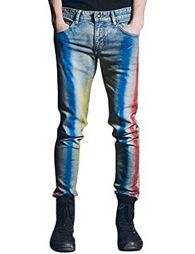 jeansian Moda Pantaloni Casual Uomo Stampa la Arcobaleno Multicolore Jeans Cool Skinny Denim Pants MJB102